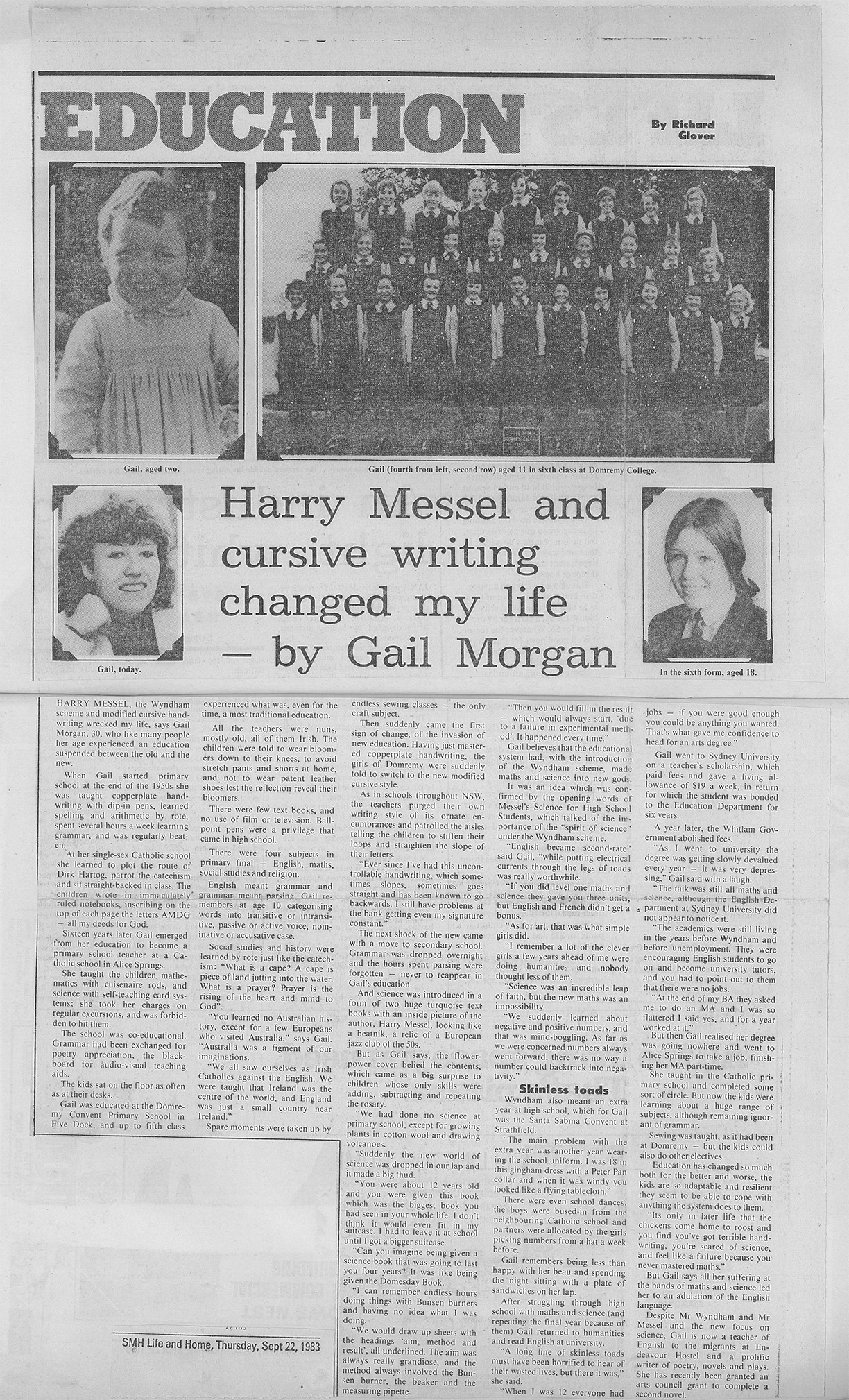 Harry Messel and cursive writing changed my life – by Gail Morgan