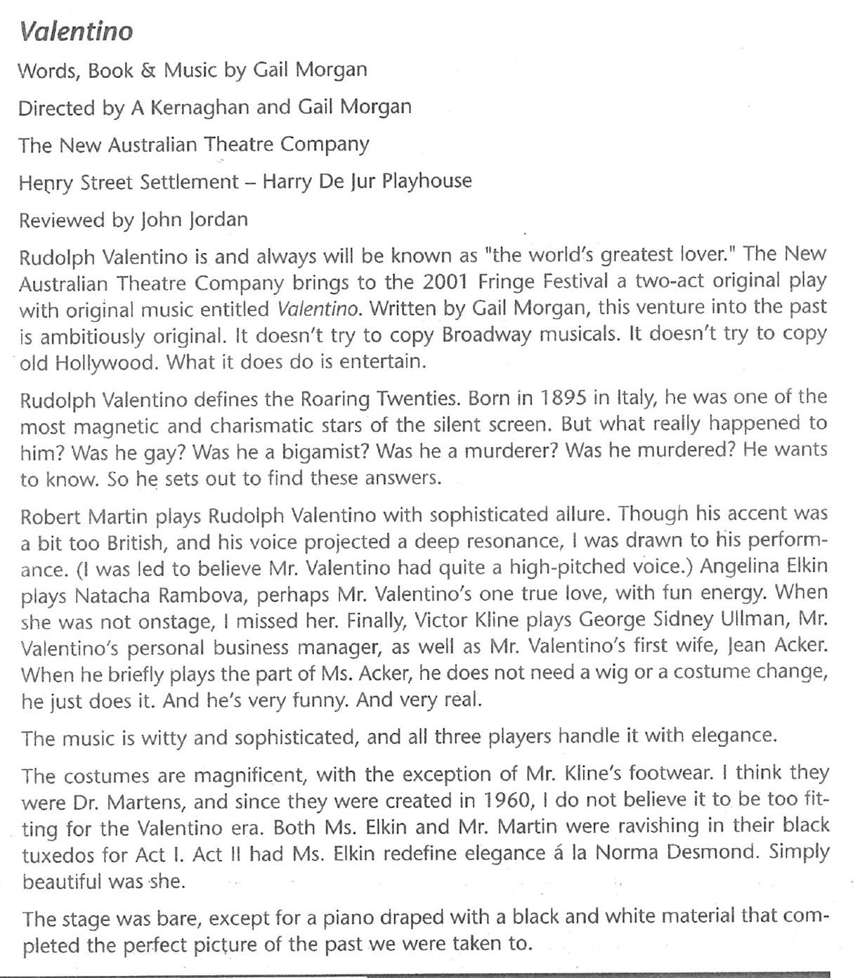 Valentino – New York Fringe Festival Propoganda magazine