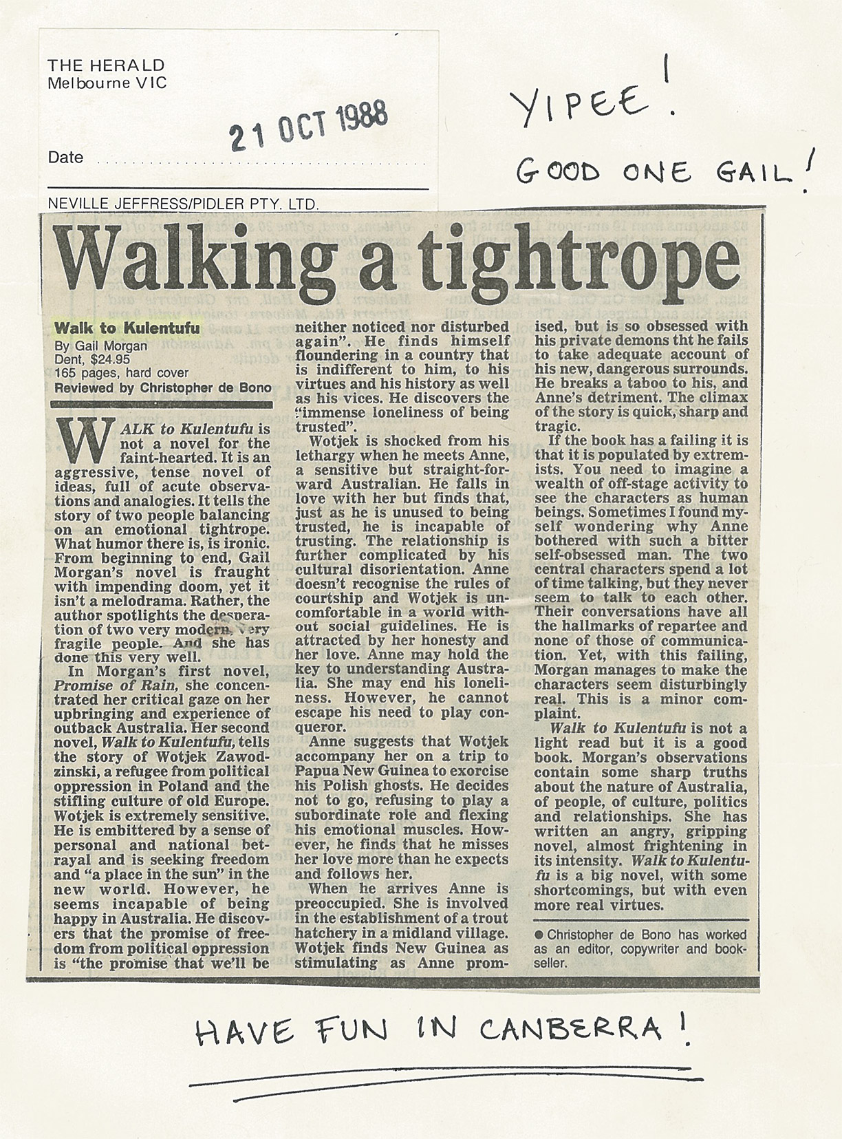 Walking a tightrope