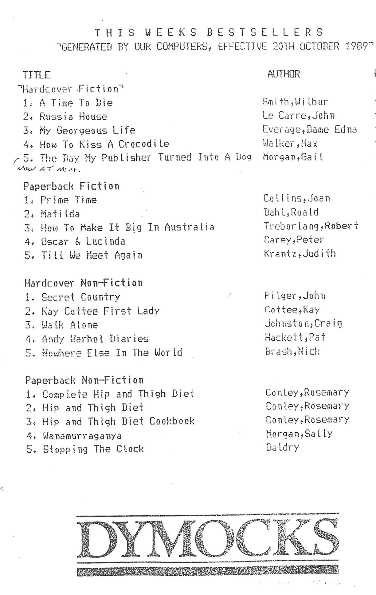 Dymocks Bestseller List