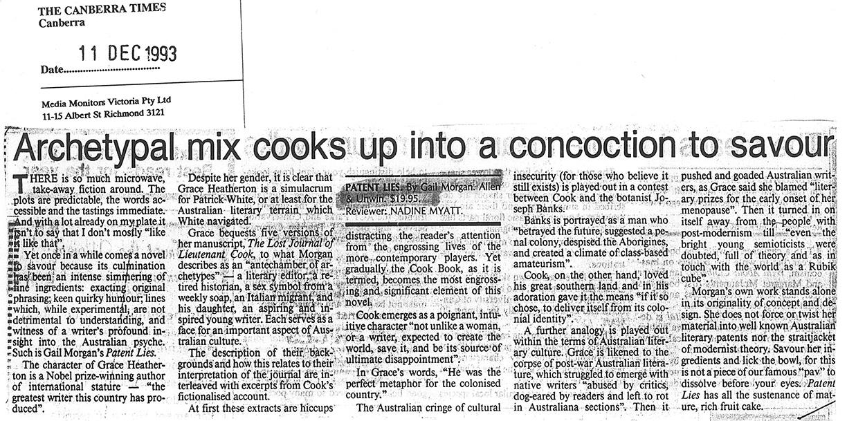 Gail Morgan - The Canberra Times article - Archetypal mix cooks up into a concoction to savour