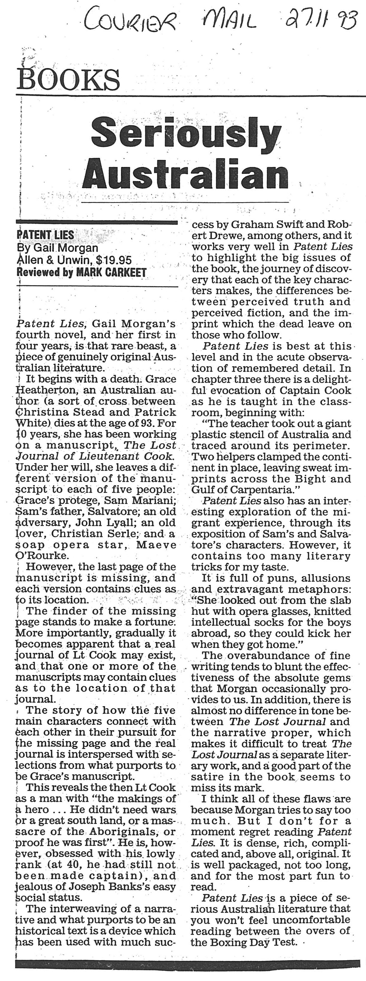 Gail Morgan - Courier Mail - Patent Lies article 'Seriously Australian'