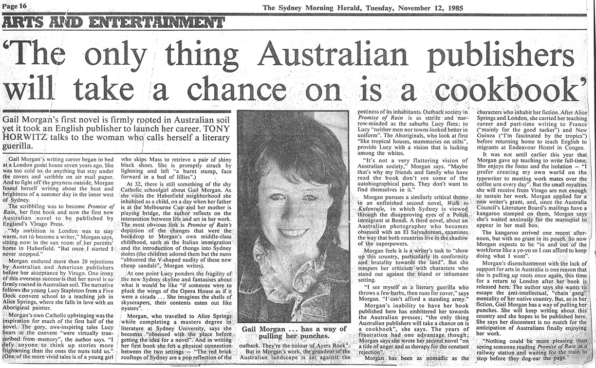 Gail Morgan - SMH article- 'The only thing Australian publishers will take a chance on is a cookbook'