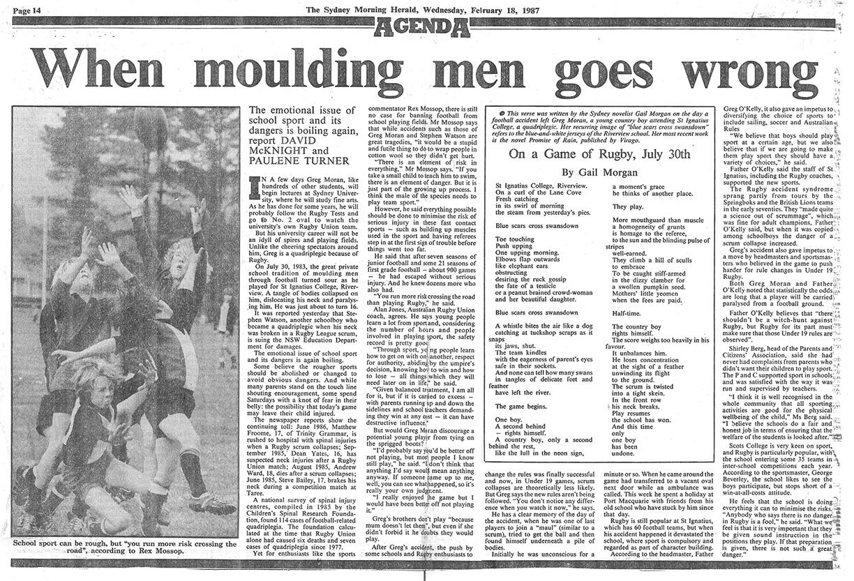 Gail Morgan - Sydney Morning Herald (SMH) When moulding men goes wrong